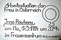"""1984-05-14: Vortrag """"Inge Rowhany:Arbeitssituation der Frau in Österreich"""""""