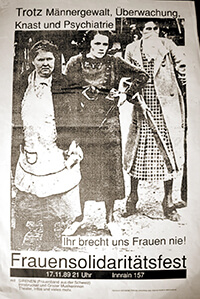 """1989-11-17: Solifest """"Trotz Männergewalt, Überwachung, Knast und Psychiatrie"""""""