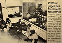"""198?: Zeitungsartikel """"Proteste gegen das Innsbrucker Genzentrum"""""""