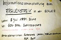 1991-07-05: Informationsveranstaltung zum Schweizer Frauenstreik