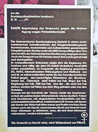 1991: An die Bundespolizeidirektion Innsbruck