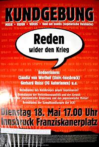 """1992-05-18: Kundgebung """"Reden wider den Krieg"""""""